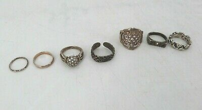 $ CDN34.02 • Buy Lot Of (7) Sterling Silver Rings - 30.60 Grams