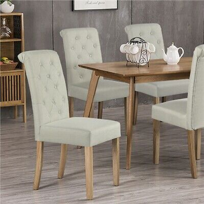 £83.99 • Buy 2pcs Fabric Dining Chairs Classic Upholstered High Back Padded Home/Cafe/Kitchen