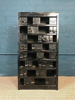 Rustic Antique Metal Industrial Collectors Chest Of Drawers Vintage Haberdashery • 225£