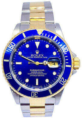 $ CDN13465.84 • Buy Rolex Submariner 18k Gold & Steel Mens 40mm Automatic Watch U 16613 Box Papers