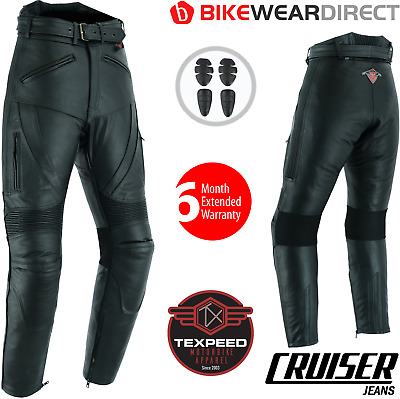 £79.99 • Buy Leather Motorcycle Motorbike Biker Trousers Touring Cruiser Jeans With CE Armour