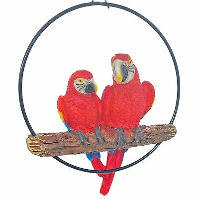 £12.99 • Buy Hanging Parrot Bird Pair Hoop Garden Ornament  Red Macaw Parrots