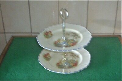 Vintage Corona 1508 Parrot Ware  2 Tier Cake Stand • 22£