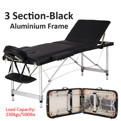 Portable 3 Fold Massage Table Beauty Bed Massage Therapy Couch Facial SPA Black • 72.99£