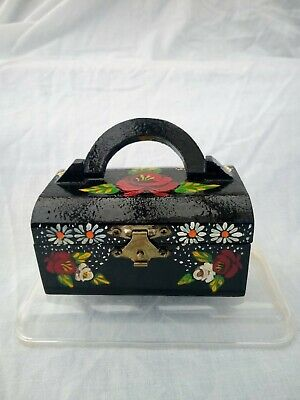 £6 • Buy Black Roses And Castles Hand Painted Trinket Chest Domed Lid Barge Ware #01