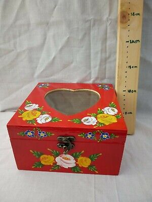 £15 • Buy Red Roses And Castles Hand Painted Wooden Memory / Storage Box Barge Ware #01