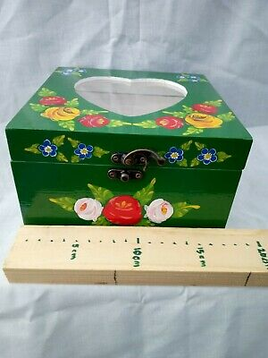 £15 • Buy Green Roses And Castles Hand Painted Wooden Memory / Storage Box Barge Ware #01