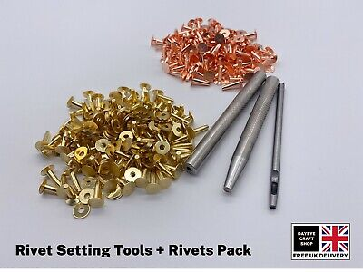 SOLID BRASS/COPPER 9mm HOSE SADDLERS RIVETS WITH SETTING TOOLS • 18.75£