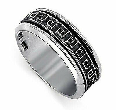Men's 925 Sterling Silver 8mm Square Maze Spinning Band • 44.83£