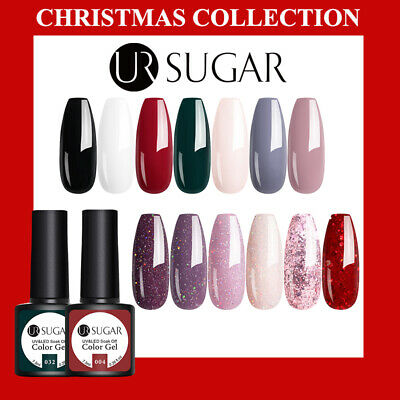 Christmas Nail Gel Polish UR SUGAR UV LED Set Colour Varnish Glitter Coat 7.5ml • 3.99£