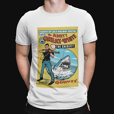 Jaws Quint Comic T-Shirt - Retro - Movie Poster - 90s - Action - Horror - 80s • 5.99£