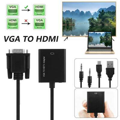 VGA Male To HDMI Female Output HD 1080P HDTV Audio Video Cable Converter Adapter • 5.49£
