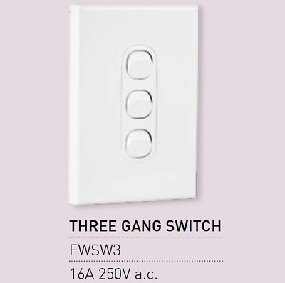 AU7.95 • Buy 1 X Vynco Vertical Wall Light Switch Outlet 3 Three Gang 16A 250V White