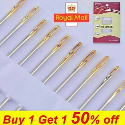 12PCS Thick Big Eye Sewing Self-Threading Needles Embroidery Hand Sewing NEW • 2.98£