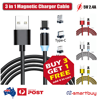 AU10.65 • Buy 3 In 1 Magnetic USB Charger Charging Cable Fit IPhone Micro USB TYPE-C Android