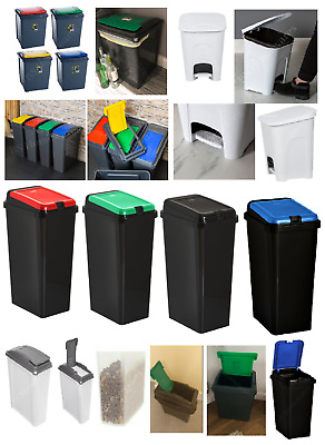 £14.95 • Buy Plastic Recycling Bins Touch Top Recycle Dust Waste Pet Food Kitchen Pedal Bin