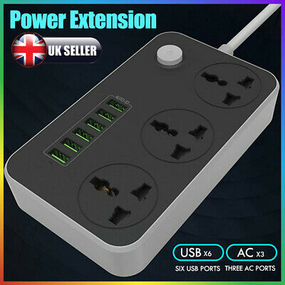 6 USB Ports 3 Way Outlets Surge Protection 2M Extension Cord Power Strips Socket • 12.96£