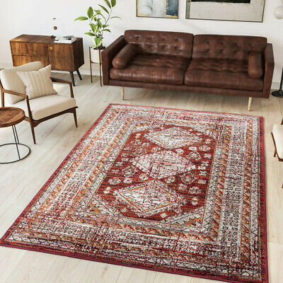 Red Traditonal Living Room Rug | Small Large Distressed Tribal Rug | Hall Runner • 19.95£