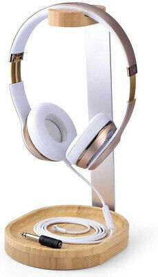 AU71.99 • Buy Headphone Stand Hanger W/ Cable Holder Universal Wooden Aluminum Headset Display