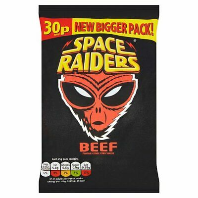 36 X Space Raiders Beef Flavour Crisp Corn Snacks 25g Full Box FREE DELIVERY • 20.99£