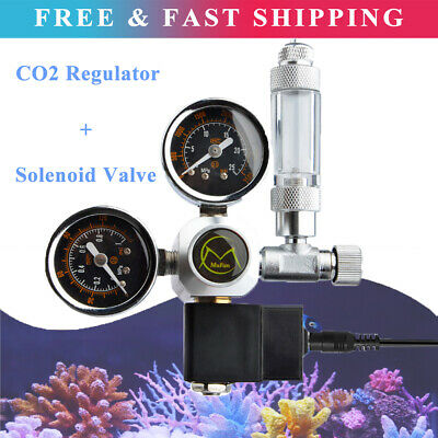 Aquarium Fish Tank CO2 Regulator Dual Gauge Bubble Counter Solenoid Valve UK • 46.88£