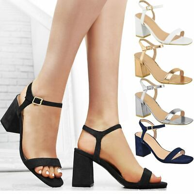 Womens Chunky Mid Low Block Heel Ankle Strappy Sandals Open Toe Work Party Shoes • 8.99£