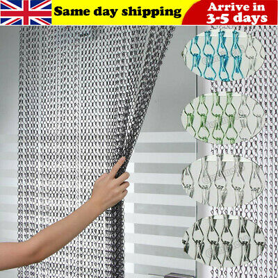 Chain Curtain Aluminum Door Curtain Metal Chain Fly Insect Blinds Screen214x90CM • 33.98£