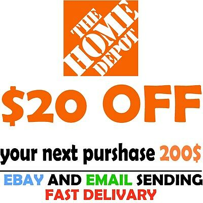 $0.99 • Buy Home Depot Coupon $20 OFF $200 [Online-Use Only]  ~FAST~delivery
