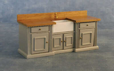 1/12 Scale Dolls House Emporium 'Smallbone' Kitchen Sink Unit Grey/Pine 9335 • 25.95£