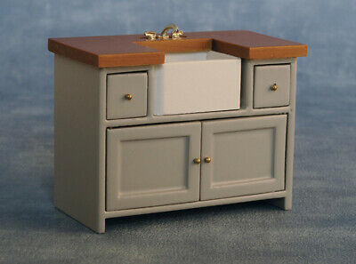 1/12 Scale Dolls House Emporium Shaker Style Kitchen Sink Unit Grey/Pine 9344 • 25.79£