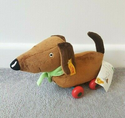 Steiff Lauras Star Dog On Wheels Pull Along Plushie No Leash Wooden Stuffed Toy • 49.99£
