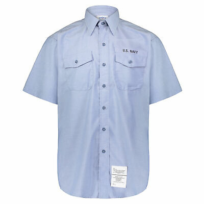 $14.99 • Buy Men's Chambray DSCP U.S. Navy Lite Blue Short Sleeve Utility Work Shirt With Tag
