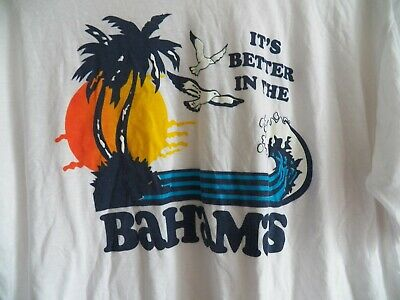 $ CDN34.04 • Buy Vintage 70s 80s Its Better In The Bahamas Palm Trees Beach Surf New T-Shirt NOS