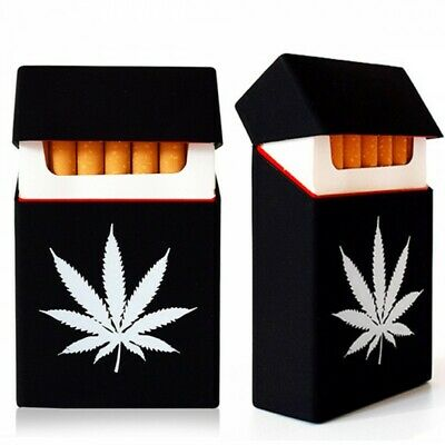 Black Silicone Cigarette Case Pack Cover King Size Holder Accessory Leaf Weed • 5.49£