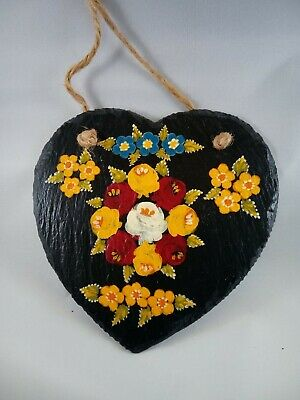 £8 • Buy Heart Roses And Castles Hand Painted Slate Hanging Wall Plaque Barge Ware #02