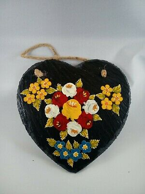 £8 • Buy Heart Roses And Castles Hand Painted Slate Hanging Wall Plaque Barge Ware #03
