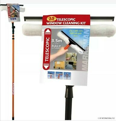 3.5m Telescopic Window Cleaner Cleaning Kit Extending Wash Head Squeegee Uk • 17.99£