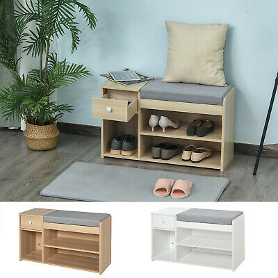 £59.99 • Buy Shoe Storage Bench W/ Drawer 3 Compartments Cushion Home Boots Multifunction