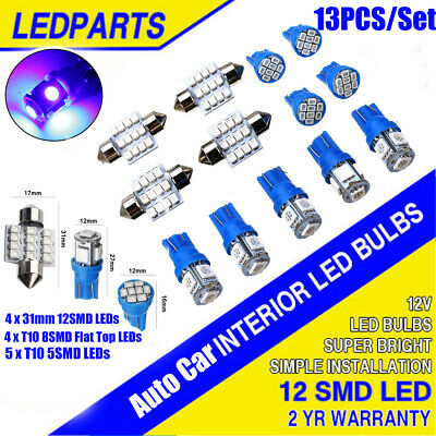 13PCS12V Car Interior LED Blue Light For Dome License Plate Lamp Accessories T10 • 6.54£