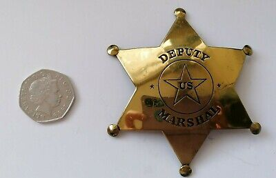 REDUCED USA, Deputy US Marshall Star Badge, Pin Fastening, Good Quality Repro • 18.95£
