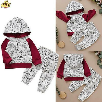 Baby Boys Girls Tracksuit Animal Print Hooded Top Pants Clothes Outfits Set 2PCS • 6.19£