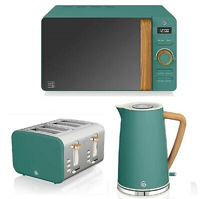 Swan Nordic Set Microwave & Cordless Kettle And 4 Slice Toaster Wood Effect • 299.99£