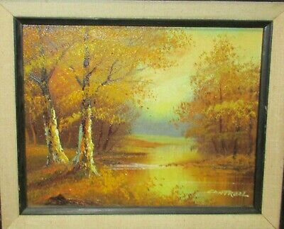 $ CDN181.43 • Buy Cantrell Small Original Oil On Canvas Autumn River Landscape Painting