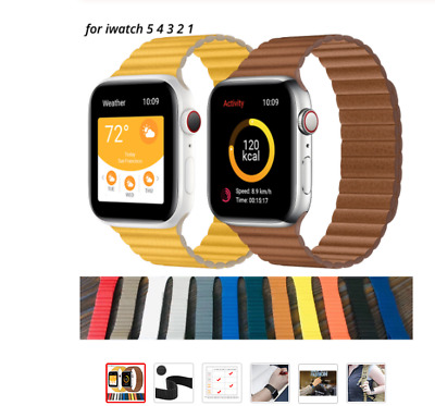 AU18.99 • Buy Magnetic Leather Loop Band For Apple Watch Series 5 4 3 2 1 42mm 38mm 44mm 40mm