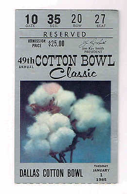 $22.99 • Buy 1985  COTTON Bowl BOSTON COLLEGE Vs HOUSTON Ticket Stub