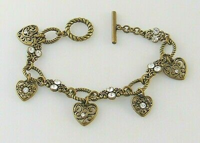 $ CDN6.20 • Buy Lia Sophia Memoir Crystal Hearts Bracelet 7  Antiqued Brass Tone Chain Nwot Mint