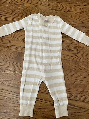 $9.99 • Buy Hanna Andersson Sleeper Zip Up Pajamas Size 60 6 - 9 Months Cream White Stiripes