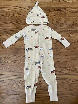 $9.99 • Buy Hanna Andersson Sleeper Zip Up Pajamas Size 60 6 - 9 Months Farmer With Hat
