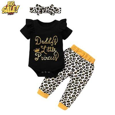 3Pcs Newborn Baby Girls  DADDY'S PRINCESS  Romper Jumpsuit Pants Outfits Clothes • 10.29£