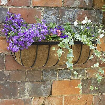 PAIR 2 X 24  SAXON TROUGHS WROUGHT IRON FLOWER PLANTERS WINDOW BOX 2 COCO LINERS • 32.95£